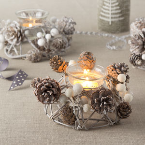 Frosted White Berry Tea Light Holder - votives & tea light holders