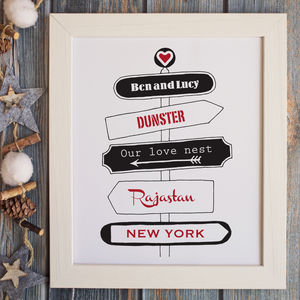 Personalised 'Love' Travel Signpost Print