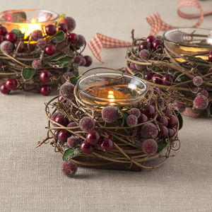 Christmas Berry Tea Light Holder