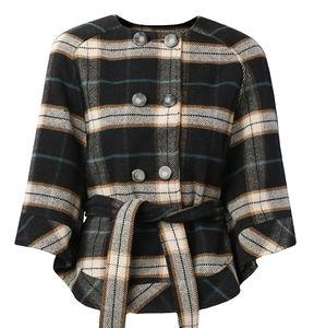 Lisa Check Wool Cape - coats & jackets