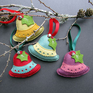 Four Handmade Bell Christmas Decorations In A Gift Box