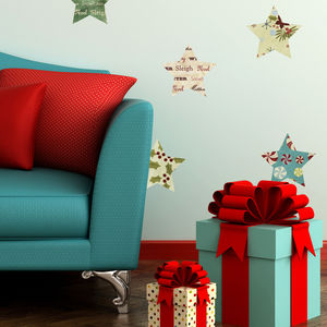 Fabric Christmas Stars Wall Stickers - office & study