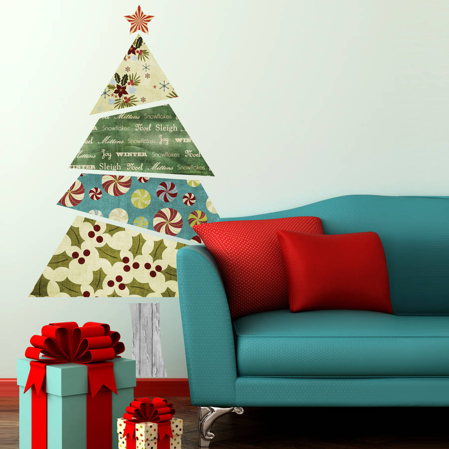 fabric patterned christmas tree wall sticker by spin personalised christmas tree wall decal by ink pudding