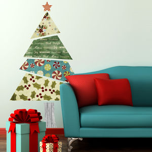 Fabric Patterned Christmas Tree Wall Sticker - decorative accessories