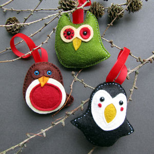 Six Handmade Christmas Bird Tree Decorations