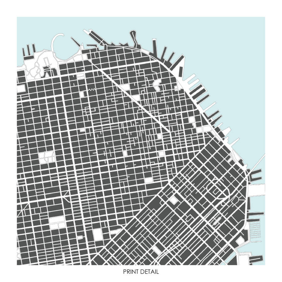 picture regarding San Francisco Maps Printable named San Francisco Map Artwork Print Confined Variation