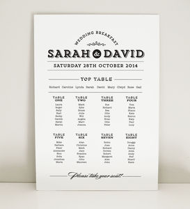 Frankie Vintage Wedding Table Plan - wedding stationery