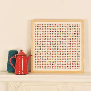 Original Polka Dot Framed Artwork - mixed media & collage