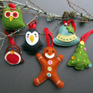 Deluxe Box Of Handmade Felt Christmas Decorations