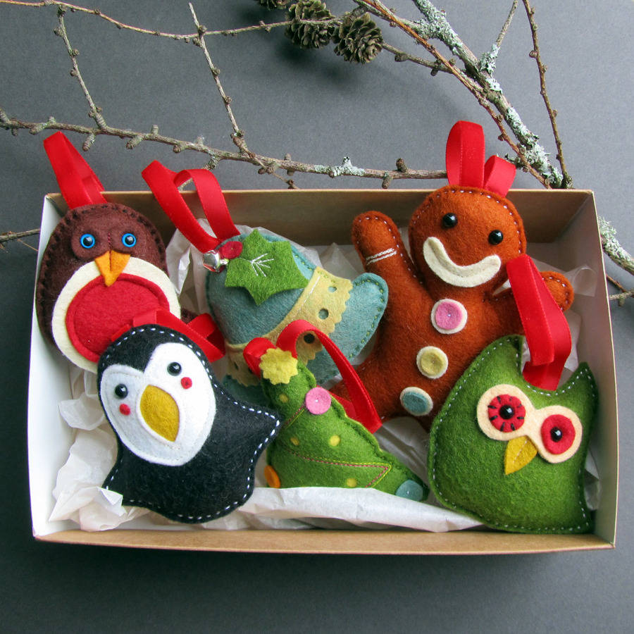 deluxe box of handmade felt christmas decorations - Handmade Felt Christmas Decorations