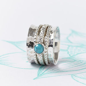 Handmade Turquoise Silver Spinning Ring