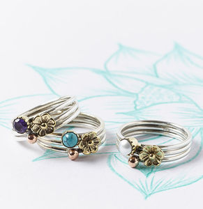 Silver Gemstone Flower Stack Rings - rings