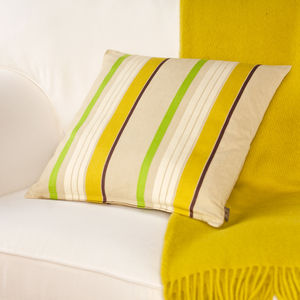 Large Yellow And Green Striped Cushion