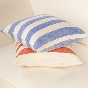 Striped Linen Cushion Covers - bedroom