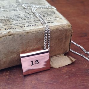 Copper 18th Birthday Envelope Necklace - 18th birthday gifts