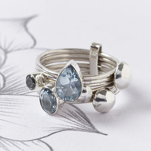 Aquamarine Silver Stacking Ring