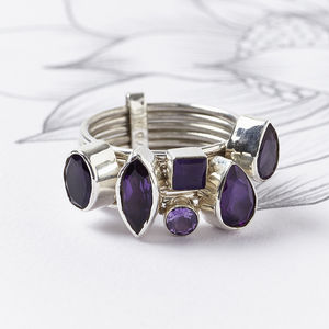 Amethyst Silver Stacking Ring - birthstone jewellery gifts