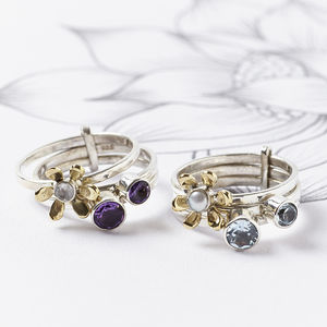 Silver Gemstone Flower Stacking Ring - rings
