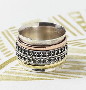 Maharaja Chunky Silver Spinning Ring