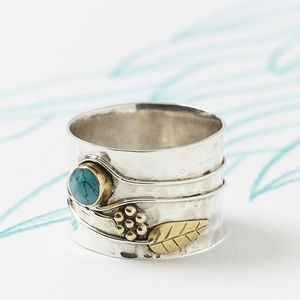 Turquoise Silver Flower Ring - rings