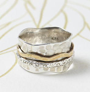 Bronze And Silver Spinning Ring - rings