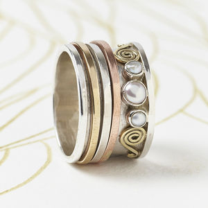 Chunky Pearl Silver Spinning Ring - rings