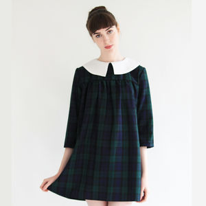 Olivia Tartan Babydoll Smock Dress - dresses