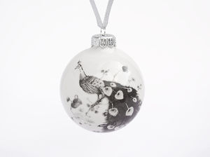 Ceramic Christmas Bauble With Peacock - view all decorations