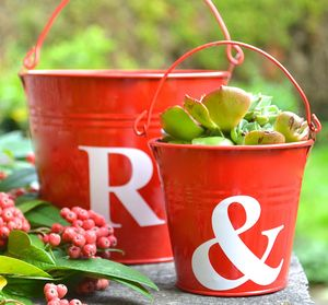 Personalised Letter Style Red Buckets - 40th anniversary: ruby