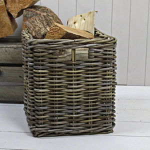 Square Rattan Storage Basket - log baskets