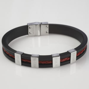 Birthday Rubber And Leather Bracelet For Men