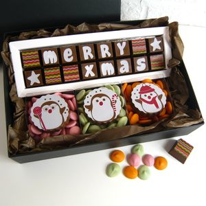 Personalised Chocolate Christmas Gift Box Of Penguins