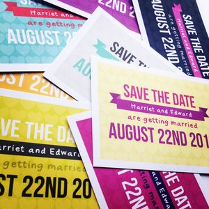Personalised Modern Banner Save The Date - wedding stationery
