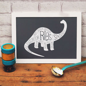 Butcher's Meat Cuts Dinosaur Diplodocus Print - food & drink prints
