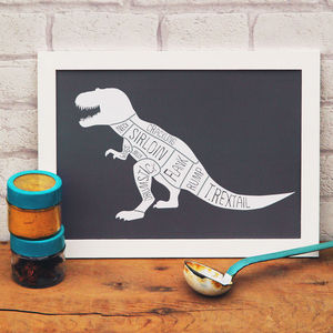 Butcher's Meat Cuts Dinosaur T Rex Print - dinosaur inspired children's room