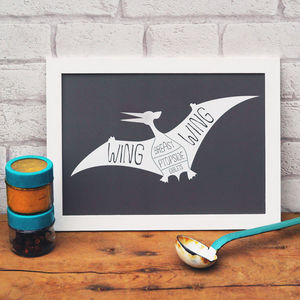 Butcher's Meat Cuts Dinosaur Pterodactyl Print - posters & prints