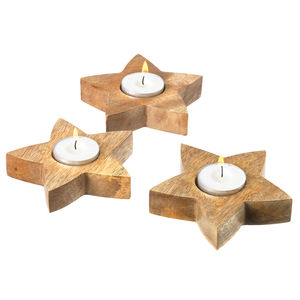 Star Tealight Holders Set Of Three - candles & candlesticks