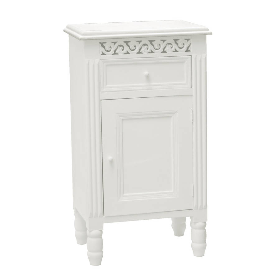 Simple French Side Cabinet In White