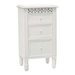 White Fretwork Bedside Table