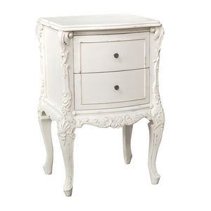 Two Drawer Bedside Table In White - furniture