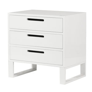 High Gloss Three Drawer Bedside In White - furniture