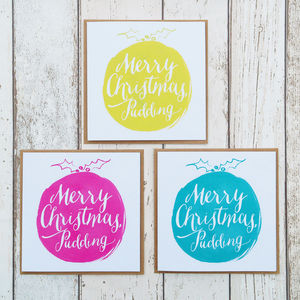 A Set Of Six Christmas Pudding Cards - christmas card packs