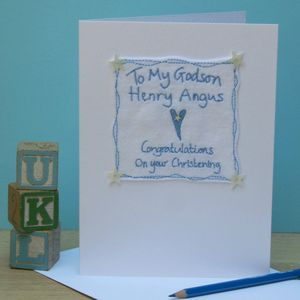 Personalised Embroidered Godchild Greetings Card