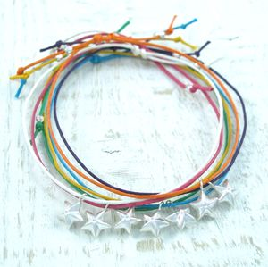 Silver Star Charm Colour Friendship Bracelet - bracelets & bangles