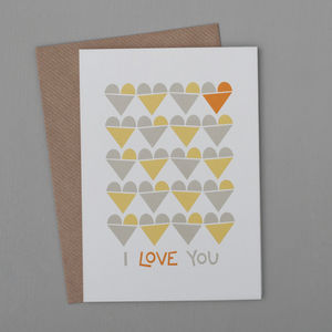 'I Love You' Heart Row Card