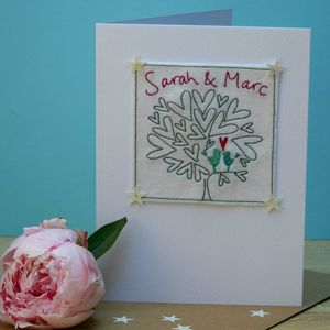 Personalised Embroidered Love Hearts Tree Wedding Card
