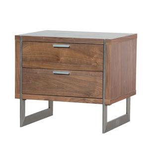 Two Drawer Walnut Retro Bedside - furniture