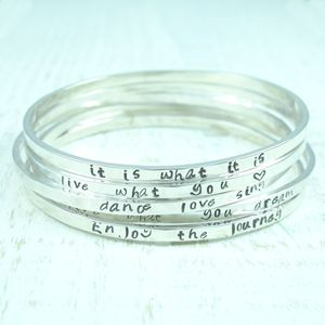 Personalised Sterling Silver Mantra Bangle - bracelets & bangles