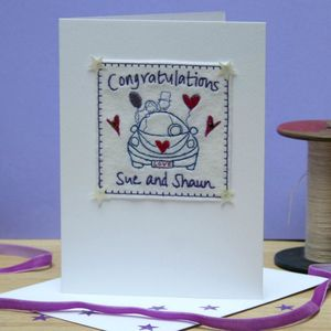 Personalised Embroidered Wedding Car Card