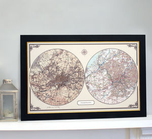 Personalised Framed 'Past And Present' Map